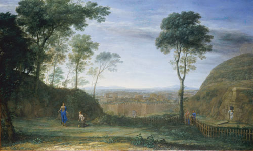 Claude Lorrain. <em>Landscape with Christ appearing to Mary Magdelene (Noli me tangere),</em> 1681. Oil on canvas, 84.5 x 141 cm. 