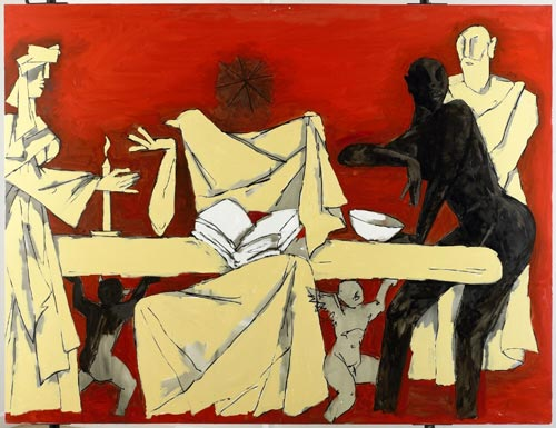 Untitled - Empty Bowl at the Last Supper, 2005. Oil on Canvas 6 x 7.5 ft.