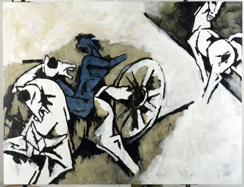 Untitled - Blind Horses and the Blue Charioteer, 2005. Oil on Canvas 6 x 7.5 ft.