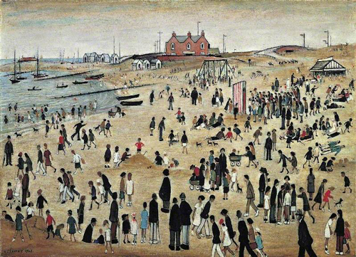 LS Lowry. July, The Seaside, 1943. 66.7 x 92.7 cm. Arts Council Collection. © The Estate of LS Lowry.