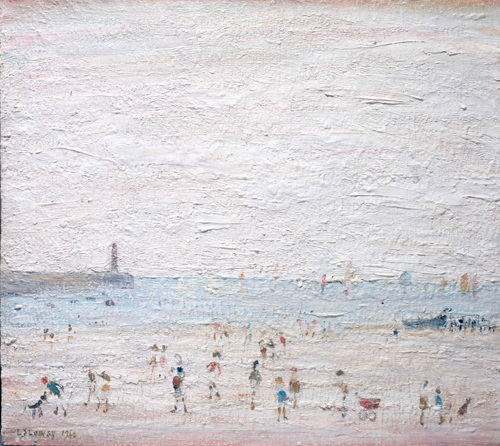 LS Lowry. Spittal Sands, Berwick, 1960. Oil on panel, 38.4 x 43.5 cm. The Lowry Collection, Salford. © The Estate of LS Lowry.