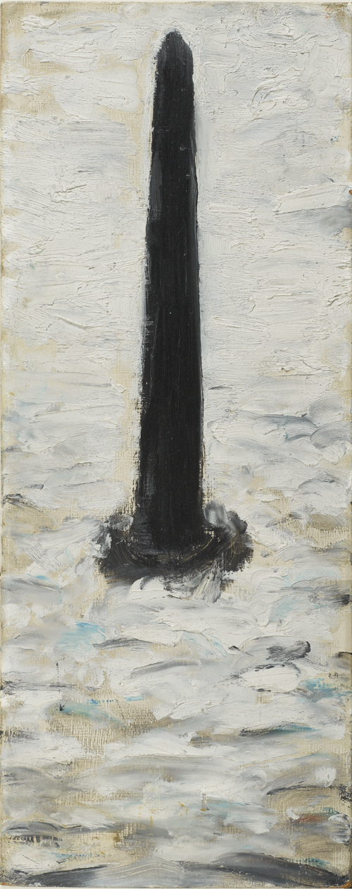 LS Lowry. Self Portrait as a Pillar in the Sea, 1966. Oil on panel, 38.8 x 15.3 cm. The Lowry Collection, Salford, Private Collection. © The Estate of LS Lowry.