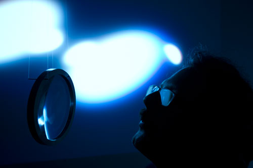 Rafael Lozano-Hemmer with the Semioptics for Spinoza, Shadow object 4 (2012). Photograph: Antimodular Research.