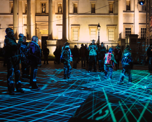 Rafael Lozano-Hemmer. Under Scan, Relational Architecture 11, 2005. Shown at Trafalgar Square, London, United Kingdom, 2008. Photograph: Antimodular Research.