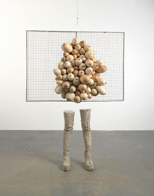 Sarah Lucas. Nice Tits, 2011. Concrete, wire mesh, tights, fluff, 208 x 160 x 60 cm. Copyright the artist, courtesy Sadie Coles HQ, London.