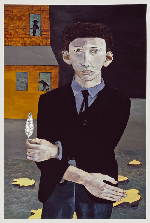 Lucian Freud. <em>Man with a Feather (Self-portrait)</em>, 1943. Private Collection © The Lucian Freud Archive. Photograph: Courtesy Lucian Freud Archive.