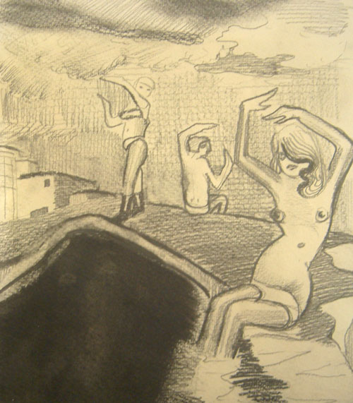 Lucy Stein. <em>Headland 1, </em>2009. Pencil and linseed oil on paper, 11 x 9.8 inches (27.9 x 24.9 cm). Courtesy the artist and Gimpel Fils.