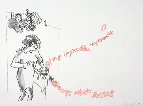 Lucy Stein. <em>O! My Impeccable References</em>, 2009. Lithograph, edition 1/30, 13 x 17.9 inches (33 x 45.5 cm) Courtesy the artist and Gimpel Fils.