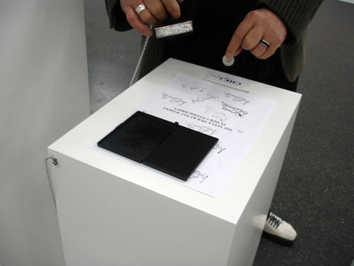 Luis Camnitzer. <em>Self-service,</em> 1996/2010. Photocopies, rubber stamp, ink pad and seven wooden bases, dimensions variable. Daros Latinamerica Collection, Zurich.