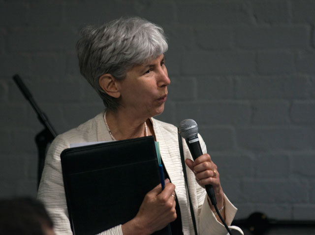 Carla Rapoport, Director and Founder of The Lumen Prize, presenting at the 2016 Winners' Gala, Hackney House, London.