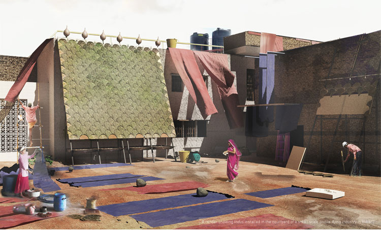 Shneel Malik. Render of Indus installed in the courtyard of a small-scale dying industry in India. Photo courtesy Shneel Malik.