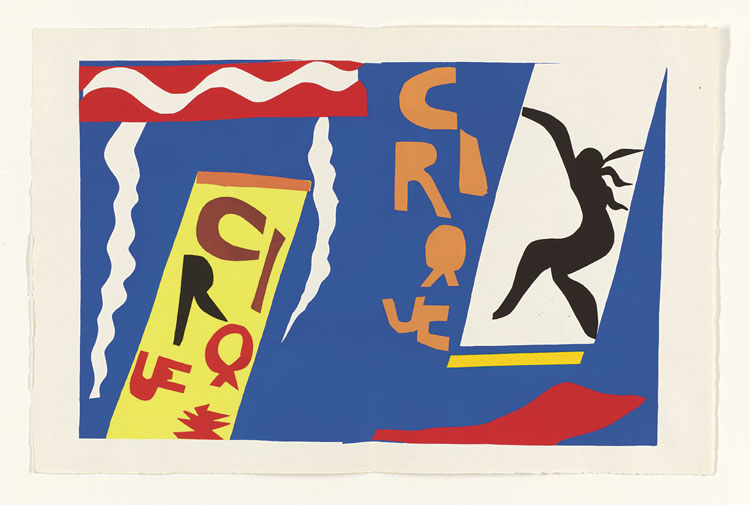 Jazz, From: Jazz by Henri Matisse, 1947, published by Tériade, Paris, unbound book with colour stencils on Arches paper and lithographed text, 42.5 x 33 x 3.5 cm. (Matisse: The Books by Louise Rogers Lalaurie, pp282-3). Photo: Philadelphia Museum of Art. Purchased with the John D. McIlhenny Fund, 1948. Photo © Philadelphia Museum of Art. Artwork © Succession H. Matisse/DACS 2020.