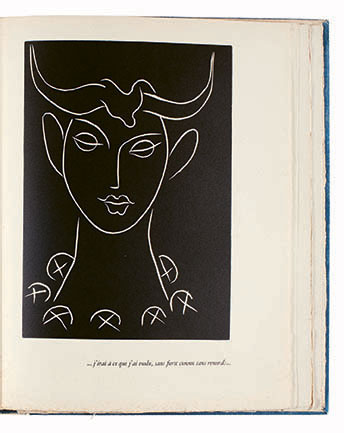 Pasiphaé, from Pasiphaé: Chant de Minos (Les Crétois), by Henry de Montherlant, 1944, published by Fabiani, Paris, unbound book with linoleum cuts on cream wove paper, 33.7 x 25.6 x 4 cm. (Matisse: The Books by Louise Rogers Lalaurie, p189). Photo: Toledo Museum of Art, Ohio. Gift of Molly and Walter Bareiss. Photo © Toledo Museum of Art. Artwork © Succession H. Matisse/DACS 2020