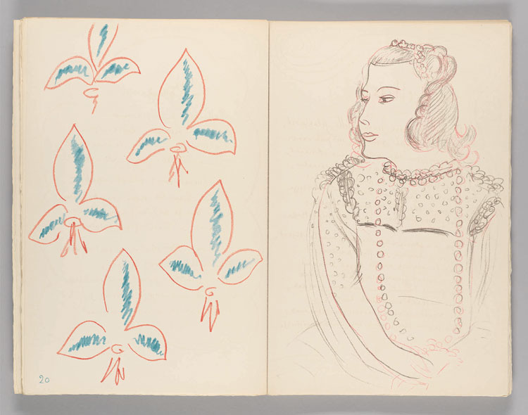 En la chambre de ma Pensée…, from Poèmes de Charles d'Orléans, by Charles d'Orléans, 1950, published by Tériade, Paris, colour lithograph on Arches paper, 41.4 x 27.8 cm. (Matisse: The Books by Louise Rogers Lalaurie, pp144-5). Photo: Harvard Art Museums/Fogg Museum. Gift of Mrs Howard J. Sachs in memory of Howard J. Sachs. Photo © President and Fellows of Harvard College. Artwork © Succession H. Matisse/DACS 2020.