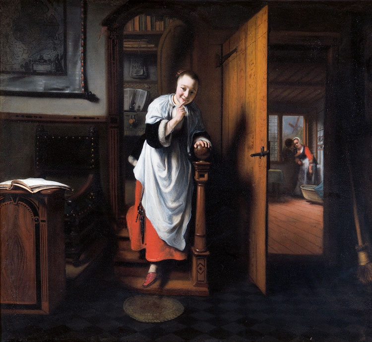Nicolaes Maes, The Eavesdropper, c1656. Oil on canvas, 57.5 × 66 cm. The Wellington Collection, Apsley House [English Heritage]. © Historic England Photo Library.