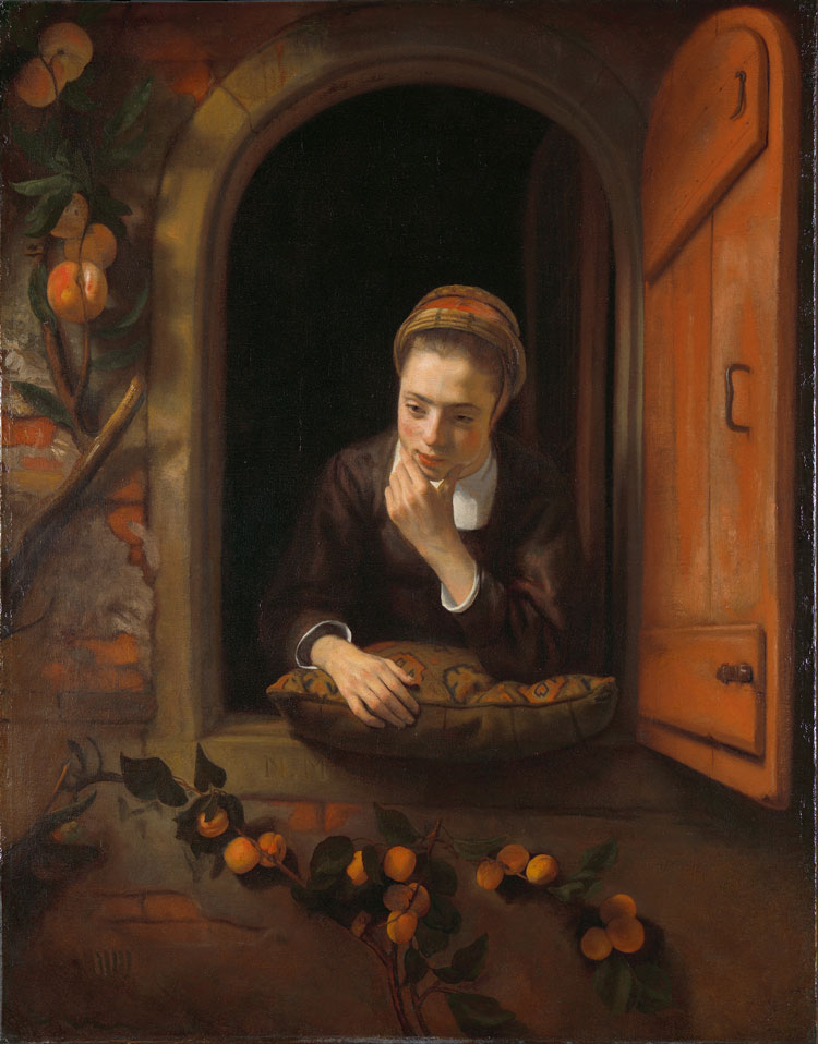 Nicolaes Maes, Girl at a Window, 1653–5. Oil on canvas, 123 × 96 cm. Loan from the Rijksmuseum. © Rijksmuseum Amsterdam.