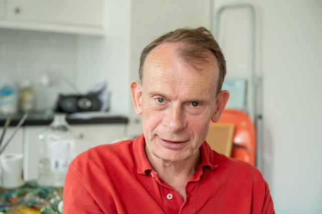 Andrew Marr talking to Studio International in his London studio, 2019. Photo: Nick Howard.