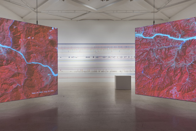 Installation view of Broken Nature, featuring Nasa, Images of Changes, 2014-17 (foreground) and Accurat, The Room of Change, 2019 (background). Photo: Gianluca Di Ioia. Courtesy of La Triennale di Mliano.