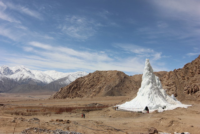 Students' Educational and Cultural Movement of Ladakh (SECMOL) with Sonam Dorje and Simant Verma, Ice Stupa. 2013-14. Photo: Lobzang Dadul. Courtesy SECMOL.
