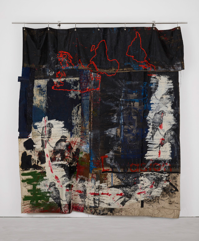 Oscar Murillo. Violent amnesia, 2014–18. Graphite, oil, oil stick, grommets and stainless steel on canvas and linen, 300 × 164 ×15 cm. Photo: Matthew Hollow. © Oscar Murillo. Courtesy the artist.