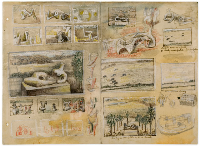 Henry Moore, Ideas for Sculpture in Landscape, c1938. Drawing. Reproduced by permission of The Henry Moore Foundation. © The Henry Moore Foundation. Photo: Michael Phipps.