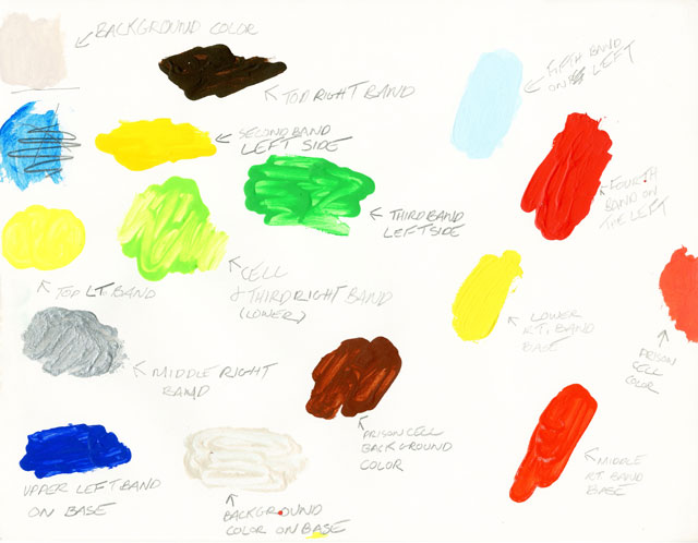 Peter Halley. Colour samples to paint the work Powder, 1995. Acrylic on cardboard. Courtesy Collezione Maramotti, Reggio Emilia.