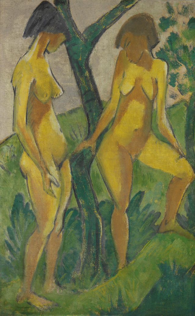 Otto Mueller. Two Girls, around 1925. Distemper on hessian, 175 x 111 cm. Staatliche Museen zu Berlin, Nationalgalerie. © bpk / Nationalgalerie, SMB. Photo: Jörg P. Anders.