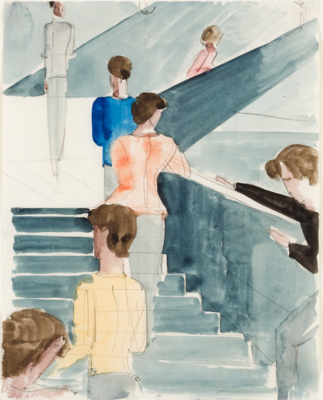 Oskar Schlemmer. Bauhaus staircase, around 1932. Watercolour and ink over pencil on writing paper with linen embossing, 27.7 x 21.9 cm. Private collection. © Photo: Peter McClennan, Frankfurt.