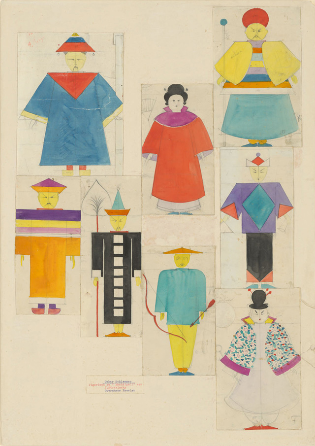 Oskar Schlemmer. The Nightingale: Seven Figurines, 1929. Pencil and watercolour on paper, the figurines individually cut out and mounted on white cardboard, 63.5 x 45 cm. Staatliche Museen zu Berlin, Art Library. © bpk / Staatliche Museen zu Berlin, Art Library. Photo: Dietmar Katz.