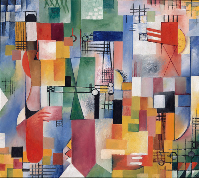 Georg Muche. The small picture with the lattice motif, 1917. Oil on canvas, 61 x 68 cm. Staatliche Museen zu Berlin, Nationalgalerie