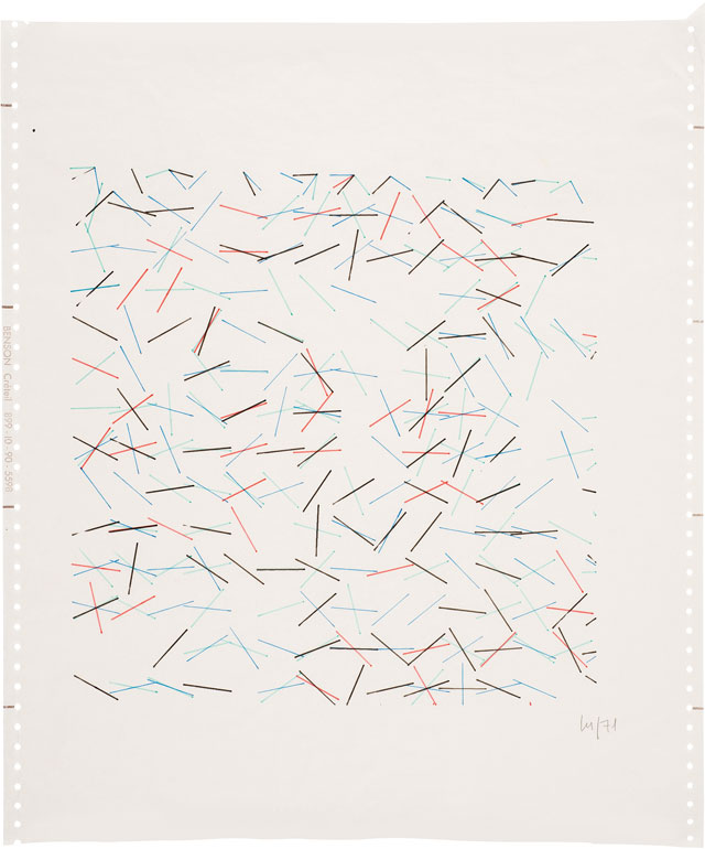 Vera Molnár. Untitled, 1971. Computer drawing, 51.5 x 36 cm (20¼ x 14¼ in). Courtesy The Mayor Gallery, London.