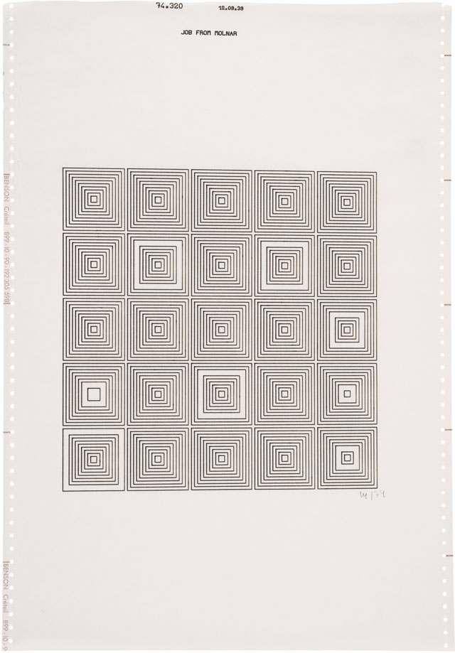Vera Molnár. Untitled, 1974. Computer drawing, 51.5 x 36 cm (20¼ x 14¼ in). Courtesy The Mayor Gallery, London.