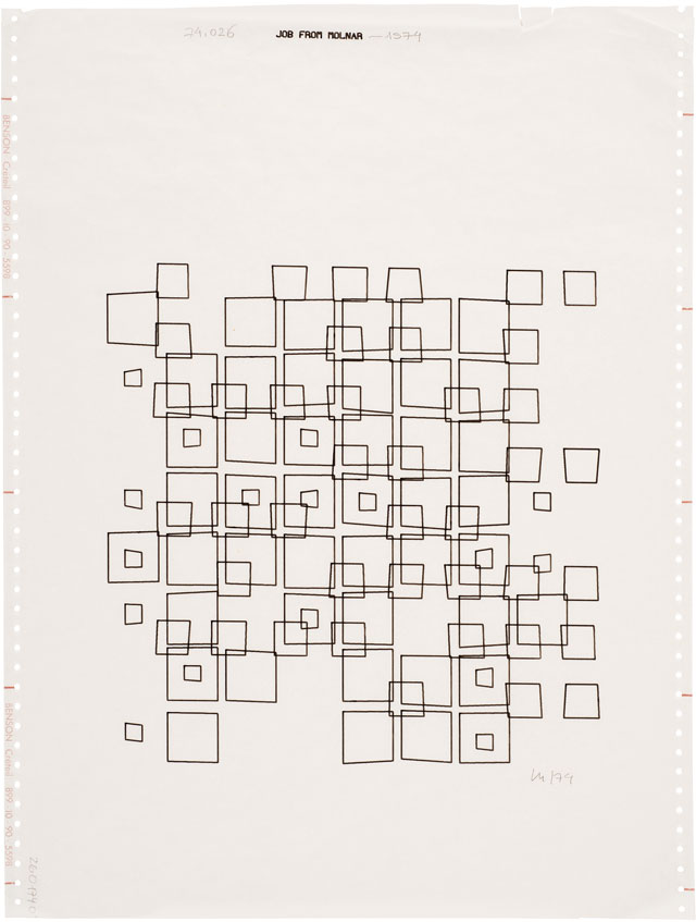 Vera Molnár. Untitled, 1972. Computer drawing, 46.5 x 36 cm (18¼ x 14¼ in). Courtesy The Mayor Gallery, London.