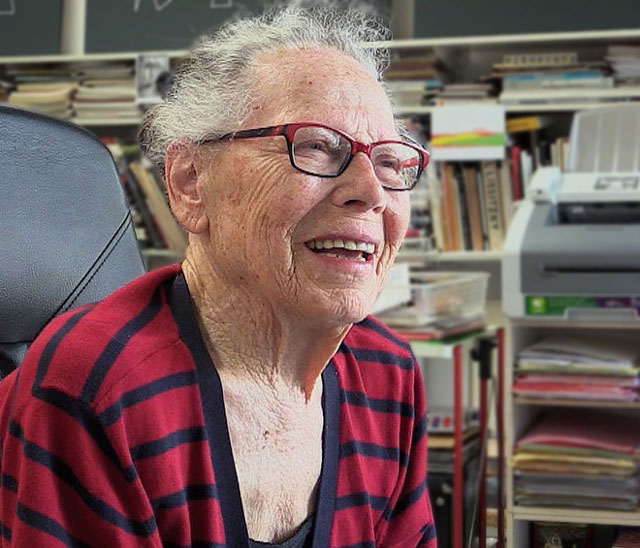 Vera Molnár talking to Studio International in her Paris studio, 11 July 2017. Photograph: Martin Kennedy.