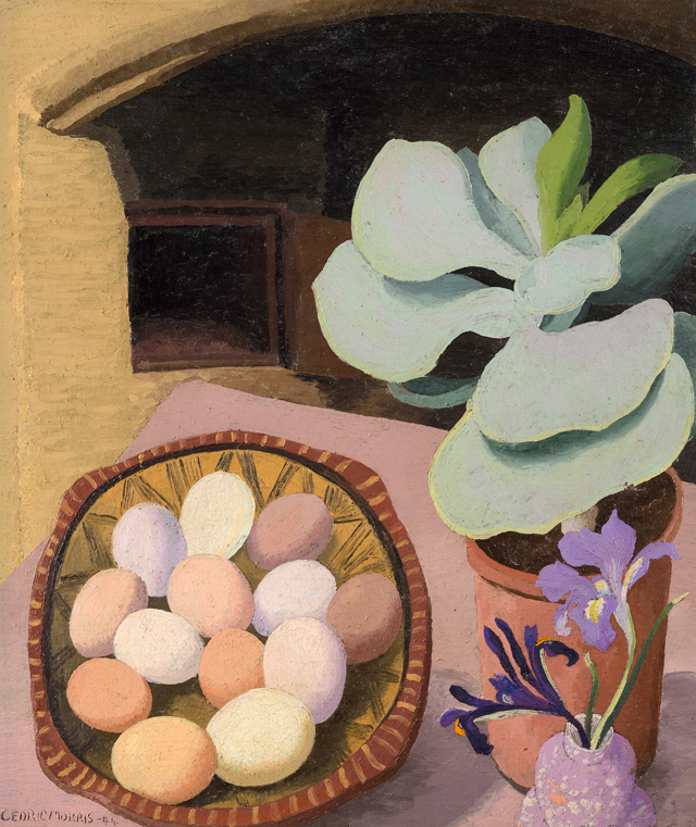 Cedric Morris. Cotyledon and Eggs, 1944. Oil on canvas. © Colchester Art Society. Courtesy the Cedric Morris Estate.