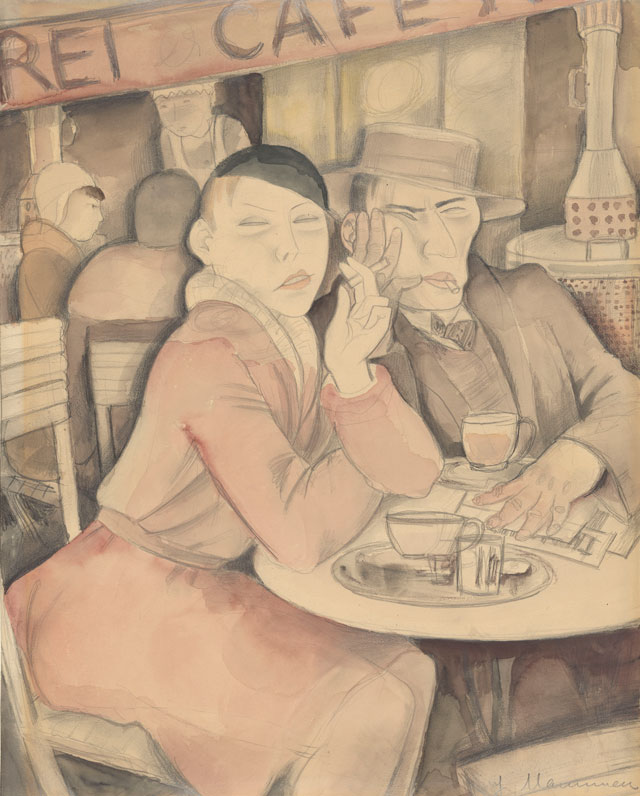 Jeanne Mammen. Café Reimann, c1931. Watercolour and pencil on paper, 45.7 x 36.2 cm. The Morgan Library & Museum, New York. Bequest of Fred Ebb. © VG Bild-Kunst, Bonn 2017 / ARS New York, 2017, Repro: © The Morgan Library, New York.