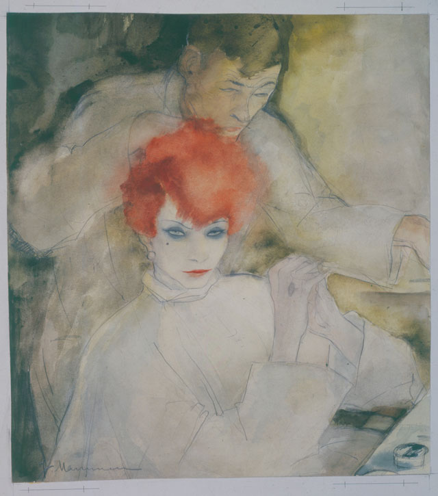 Jeanne Mammen. The Red-Headed Woman (Thoughts at the Hairdresser's), c1928. Watercolour and pencil on paper, 34.7 x 31 cm. Berlinische Galerie, © VG Bild-Kunst, Bonn 2017, Repro: © Kai-Anett Becker.