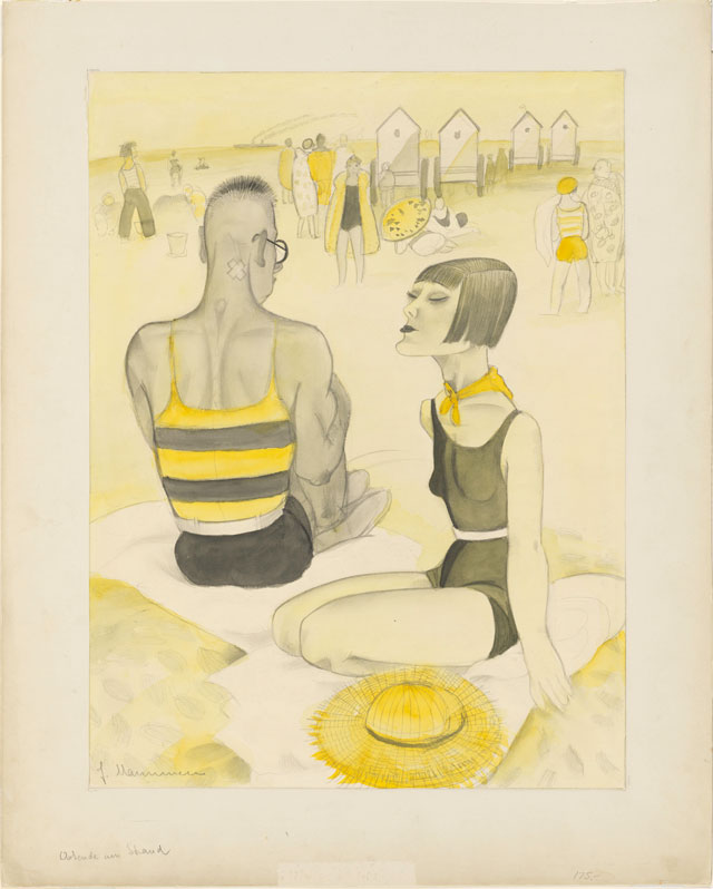 Jeanne Mammen. The Beach at Ostende, c1926. Watercolour and pencil on paper, 48.4 x 36.3 cm. Harvard Art Museums/Busch-Reisinger Museum, Gift of Mr and Mrs Edward Ruppert. © VG Bild-Kunst, Bonn 2017 / ARS New York, 2017, Repro: © President and Fellows of Harvard College/Imaging Department.