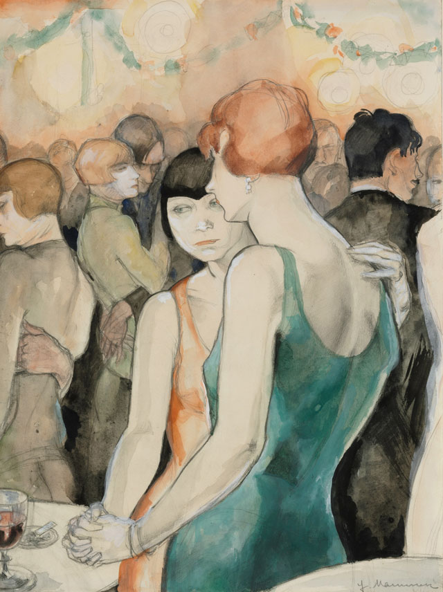 Jeanne Mammen. Two Women, Dancing, c1928. Watercolour and pencil on paper, 48 x 36 cm. Private Collection, Berlin. © VG Bild-Kunst, Bonn 2017, Repro: © Volker-H. Schneider, Berlin.