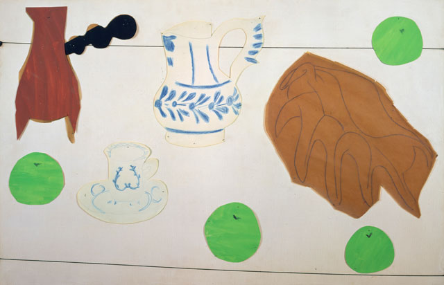 Henri Matisse. Still Life with Shell, 1940. Gouache, coloured pencil, and charcoal on cut paper, and string, pinned to canvas, 83.5 x 115 cm. Private collection. Photograph © Private collection. © Succession H. Matisse/DACS 2017.