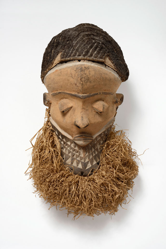 Muyombo mask, Pende region, Democratic Republic of the Congo, 19th-early 20th century. Wood, fibre and pigment, 49 x 19.3 cm. Former collection of Henri Matisse. Private collection. Photograph: Jean-Louis Losi.