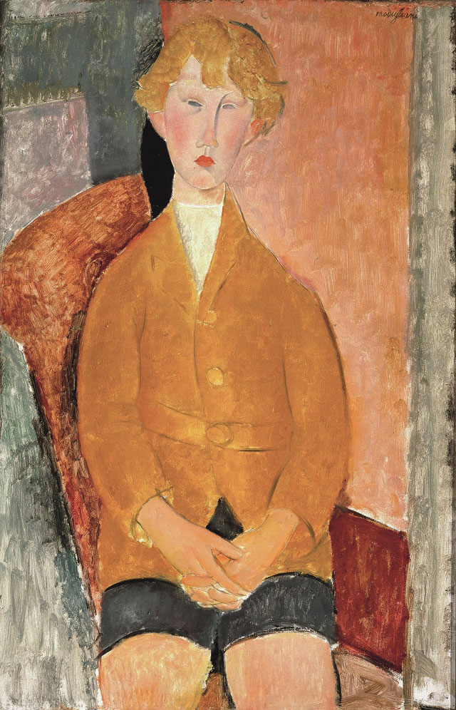 Amedeo Modigliani. Boy in Short Pants, c1918. Oil paint on canvas, 99.7 x 64.8 cm. Dallas Museum of Art, gift of the Leland Fikes Foundation, Inc. 1977.