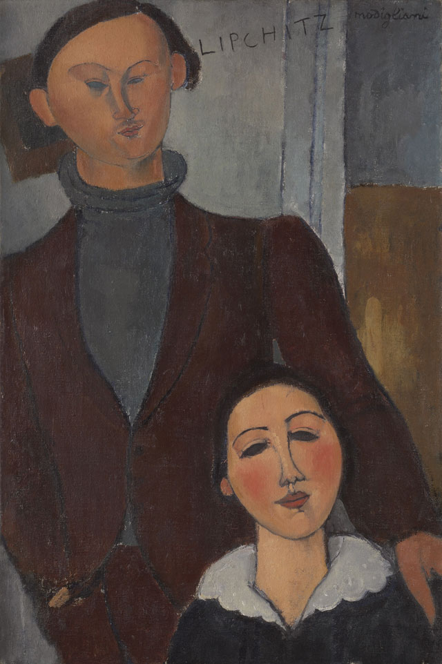 Amedeo Modigliani. Jacques and Berthe Lipchitz, 1916. Oil on canvas, 81.3 x 54.3 cm. The Art Institute of Chicago.