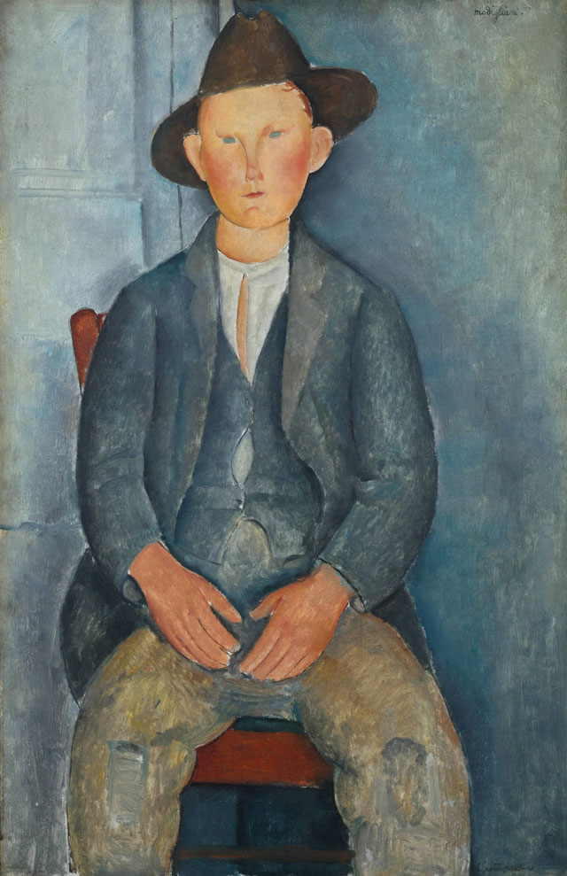 Amedeo Modigliani. The Little Peasant, c1918. Oil paint on canvas, 100 x 64.5 cm. Tate, presented by Miss Jenny Blaker in memory of Hugh Blaker 1941.