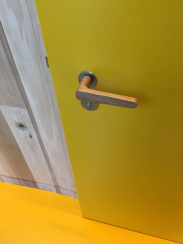Hand-turned oak door handles, Maggie's Centre for cancer care, Oldham. Photograph: Veronica Simpson.