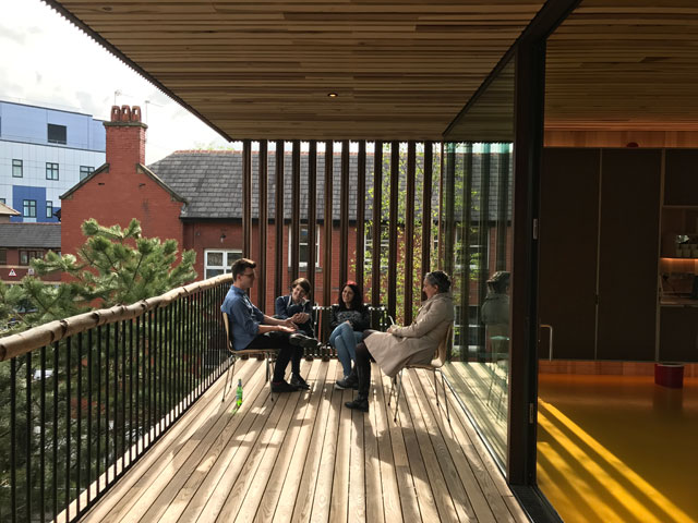 View of the terrace, Maggie's Centre for cancer care, Oldham. Photograph: Alex de Rijke.