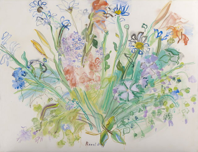 Raoul Dufy. Fleurs des champs, 1941. Watercolour and gouache on paper, 50 x 65.2 cm (19 ¾ x 25 11/16 in). Photograph: Prudence Cuming Associates. © Stoppenbach & Delestre Ltd, London.