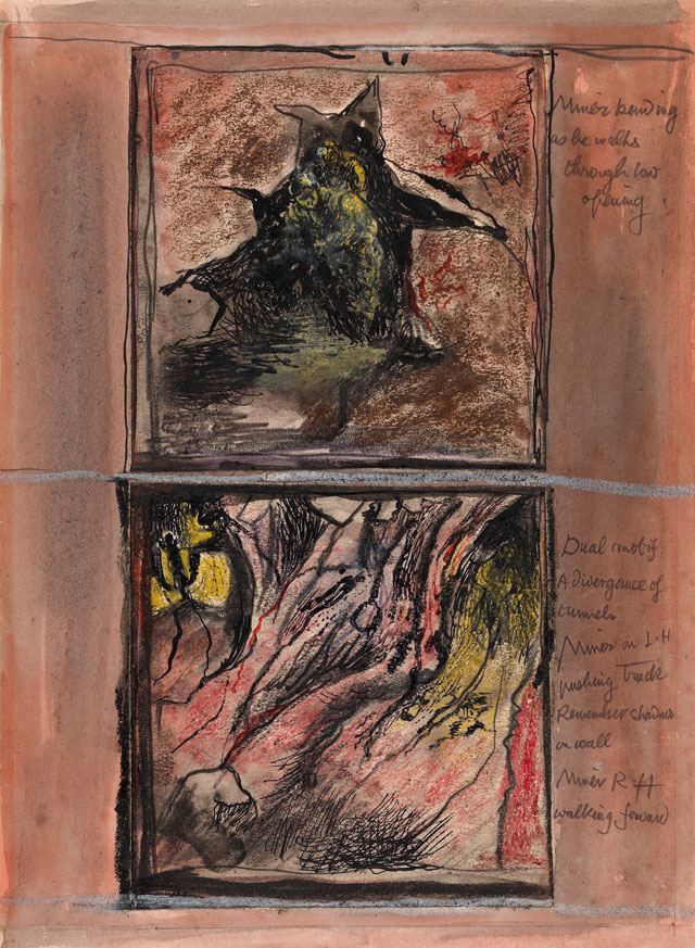 Graham Sutherland. Tin Mine: Two Studies, 1942. Ink, gouache and chalk, 10¾ x 8 in (27.5 x 20 cm). Courtesy Christopher Kingzett Fine Art, London.