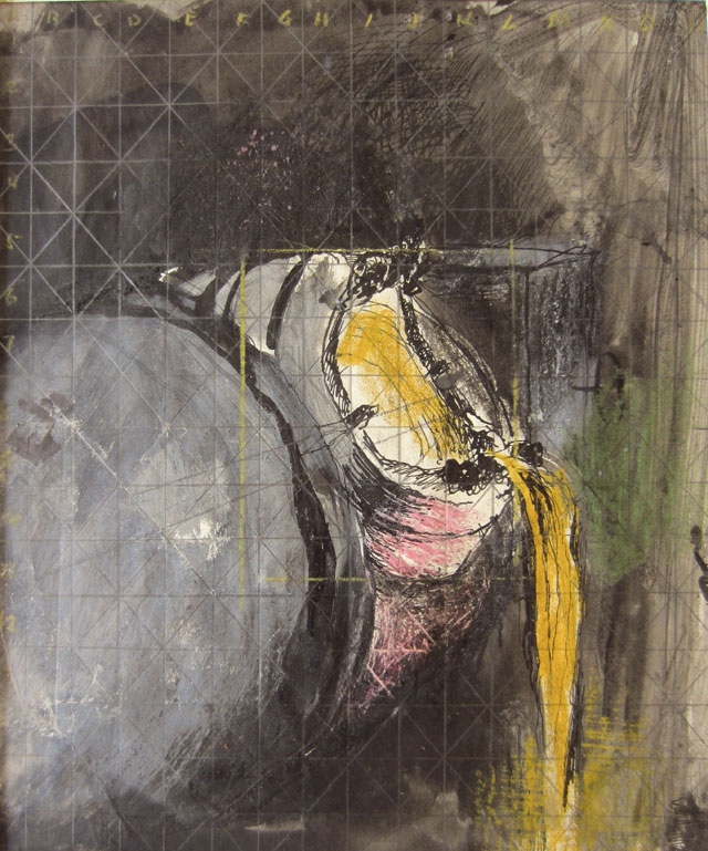 Graham Sutherland. Mouth of Hot Metal Container, Cardiff, 1942. Pen and ink, chalk and wash, 8¾ x 7¾ in (22 x 19.5 cm). Courtesy Christopher Kingzett Fine Art, London.
