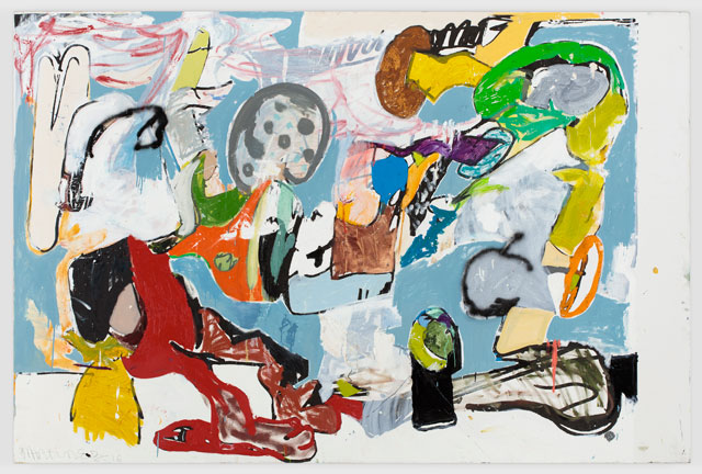 Eddie Martinez. Beach Young, 2016. Silkscreen ink, oil paint, spray paint, enamel and graphite on canvas, 182.9 x 274.3 cm. © Eddie Martinez. Courtesy Timothy Taylor.
